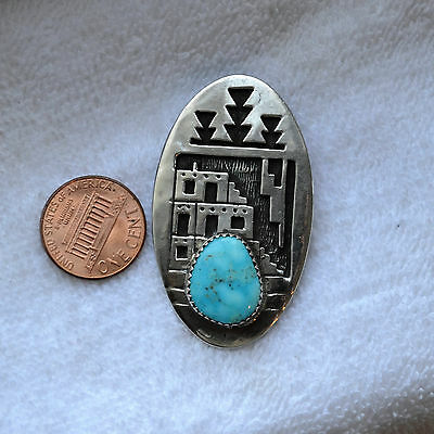 Native Navajo Hopi  Sterling Silver Turquoise Pendant Necklace LEE CACY ?