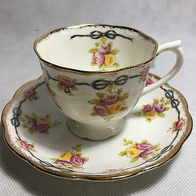 Royal Albert Crown China Tea Cup And Saucer Blue Ribbon & Gold Trim Flowers