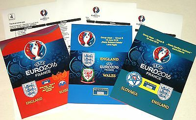 EURO 2016 ! ENGLAND - ALL 4 PROGRAMMES (unofficial) and TEAMSHEETS ! MINT !