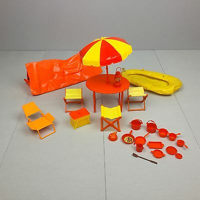 Vintage 1970 BARBIE CAMPING PLAYSET LOT Table With Umbrella Tent HTF RARE Red