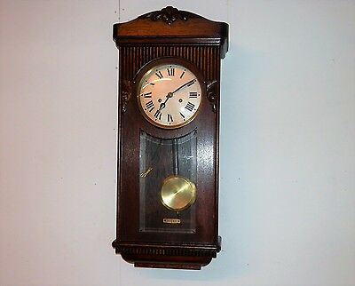 Antique German Chiming 8 Day Key Wind Wallnut Clock Nice Condition Works Good!