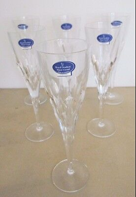 Royal Doulton 6 Fine Crystal Champagne Glasses - Fortune