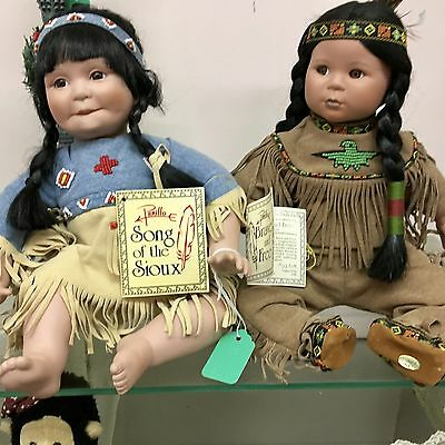 """Gregory Perillo Porcelain~ """" Song of the Sioux"""" and """"Brave and Free""""~ Circa 1992"""