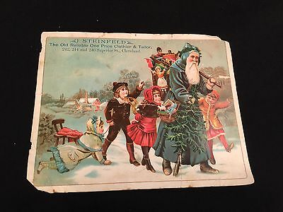 Vintage Christmas Card Advertising Steinfeld Clothier & Tailor Cleveland (A1)