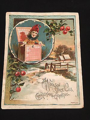 Vintage Christmas Card Woolson Spice Co Lion Coffee (A1)