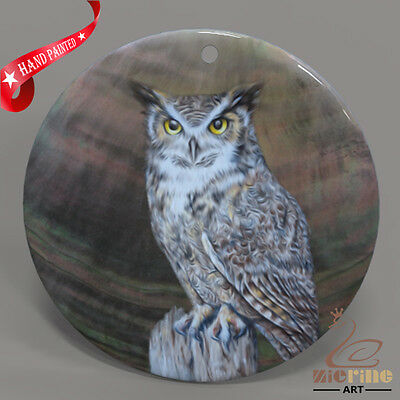 Hand Painted Owl Shell Jewelry Necklace Pendant Zp30 01611