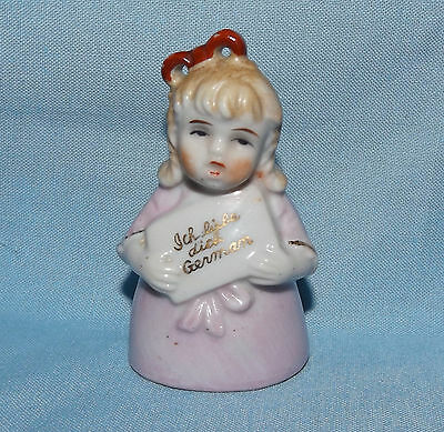 VTG BISQUE HALF DOLL Ich Liebe Dich I Love You GIRL HOLDING SIGN FIGURAL BELL