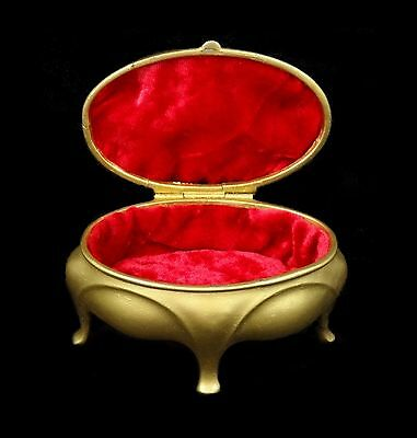 Elegant French Art Nouveau - trinket box - solid metal painted gold - red lining