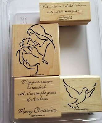 Stampin' Up *MADONNA AND CHILD* 4 pc Mounted Rubber Stamp Set. Retired. RARE.