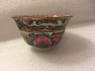Vintage Chinese Canton Famille Rose Floral Butterflies Porcelain Teacup