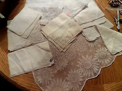 10 Vintage WHITE WEDDING NICE SOME TAGS Hankie HANDKERCHIEFS  LOT
