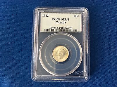 Canada Silver Ten Cent 1942 Pcgs Ms-64 Beauty!!