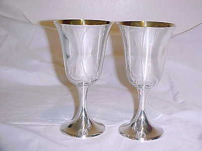 "2 Vintage Gorham Sterling Silver Water Goblets 272 No Monogram 6 1/2"" Tall"