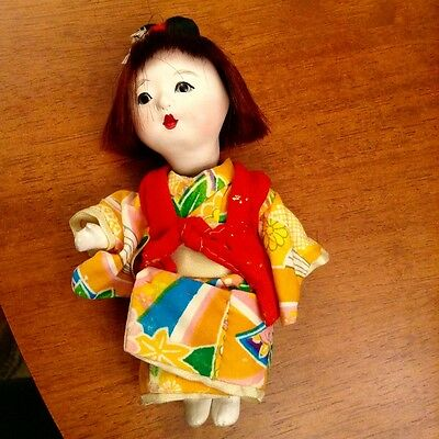 Vintage Little Japanese Gofun Ichmatsu Friendship Doll