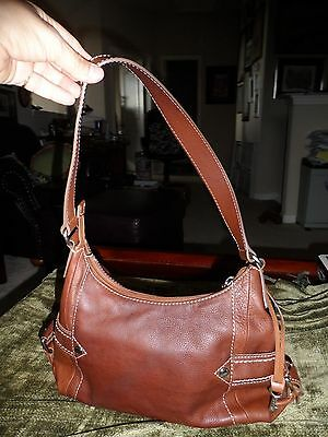 Fossil Brown Leather Handbag Hobo Satchel Shoulder Purse Handbag