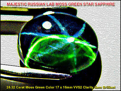 GEM GRADE MOSS-GREEN STAR SAPPHIRE Russian/Thai Cut 28.32ct apx.17X16mm VVS2