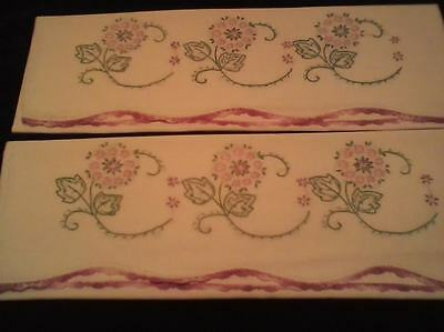 Vintage embroidered & crocheted standard cotton pillow cases - great stitchery