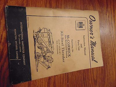 Mccormick All-Steel Thresher Instruction Manual And Parts List Ihc Vintage
