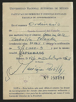 J) 1953 Mexico, Ballot Of The Faculty Of Law And Social Sciences, School Of Juri