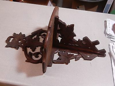 "ANTIQUE VICTORIAN CARVED WOOD FOLDING WALL SHELF 19 1/2"" Broken"