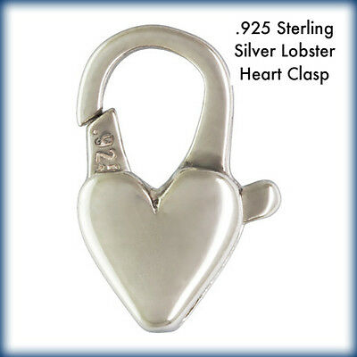 2 Pcs - Solid Sterling Silver .925 Lobster Heart Clasps - 6x12mm - Made in Italy