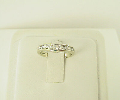 Estate 14k White Gold Round Brilliant Diamond Curved Channel Wedding Band Ring