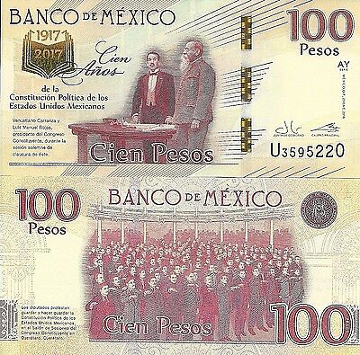 C) Mexico Commemorative Banknote 100 Pesos 2017 UNC, 100 years of constitution