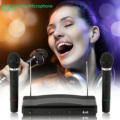 Professional Wireless Microphone System Dual Handheld 2 x Mic Receiver BX