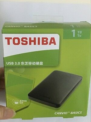1 TB USB3.0 Portable External Hard Disk Drive NEW Toshiba Canvio Basics Black