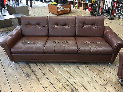 Retro Vintage Danish Scandinavian Low 3 Seat Seater Brown Leather Sofa 60s 70s
