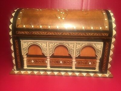 Fine Spanish Wooden Inlaid Jewelry Box Casket Marquetry-Moorish