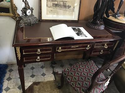 Large French Reproduction 5 Drawer Leather Top Writing Desk/bureau With Ormolus