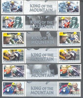 "Isle of Man-Joey Dunlop""King of the Mountain""mnh  2 sets -Motorcycles-TT Races"