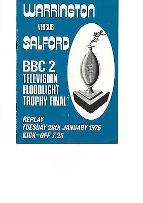 BBC Floodlit Trophy Final Replay 28th January 1975 WARRINGTON v SALFORD