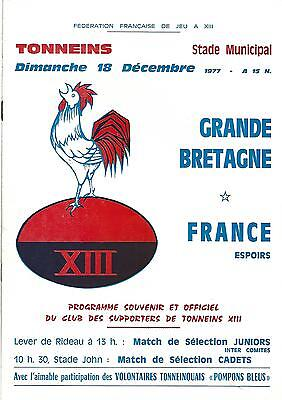 FRANCE v GREAT BRITAIN Under-24s at Tonneins 18th December 1977 A4 programme