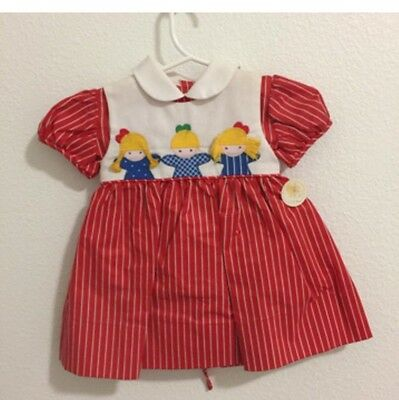 Red Striped Vintage Dress With Cute Dolls