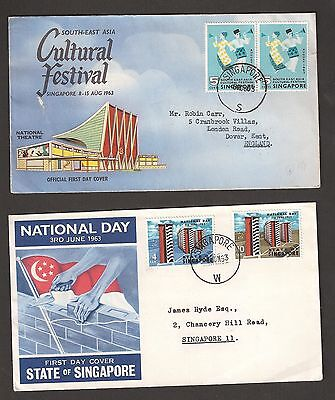 Singapore 1963 FDCs State of Singapore and Festival stamps