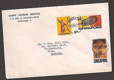 Singapore 1969 cover to UK  with fine used low values 1c, 4c & 5c