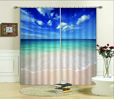 3D Bule Sky Sea Blockout Photo Curtain Printing Curtains Drapes Fabric Window CA