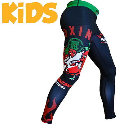 Kids Compression Pants Hardcore Training Peppers Spats Child MMA BJJ Fitness