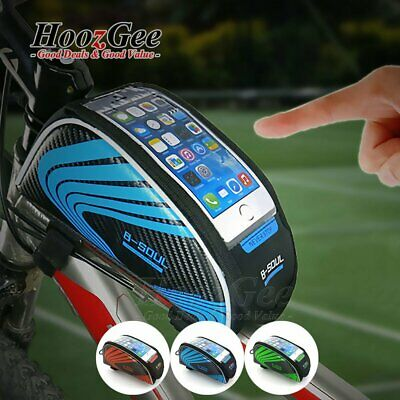 Bike Bicycle Cycling Front Tube Frame Storage Bags  6'' Touch Screen Phone Pouch