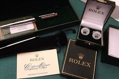 Rolex Rhodium Silver Plated Pen & Cufflinks New Boxed With Cards