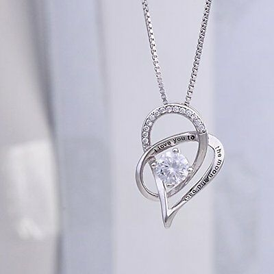 New Women Fashion Jewelry 925 Sterling Silver Love Heart Pendant Necklace Chain