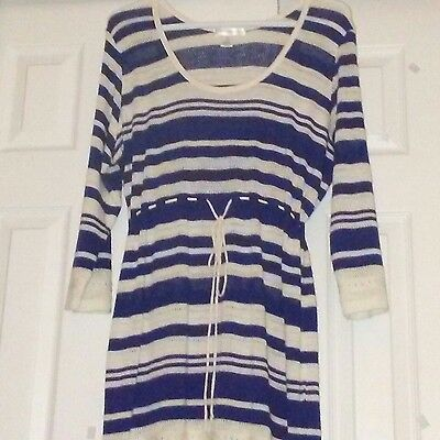 MOTHERHOOD Maternity Lightweight Sweater Tunic Long Top Dress Made in USA Size L