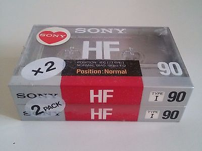 x2 Cassette SONY HF 90 2-pack Audio Sigillate Sealed blank cassette tape Vintage