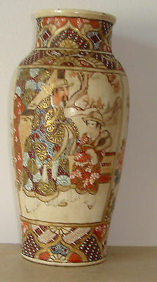 Antique Japanese Meiji Period Pottery Vase 4 Panel Figures/Flowers
