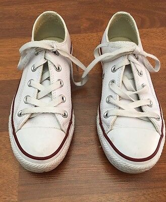Womens White Leather Converse Shoes Genuine)UK Size 3