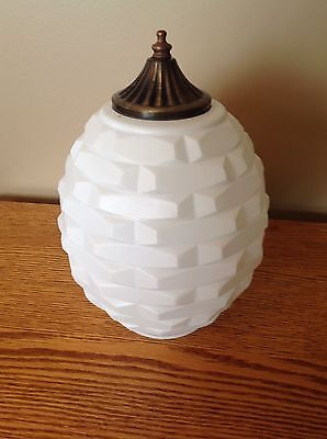 Vintage UNIQUE White Opaque Swag Light Shade Globe with Finial