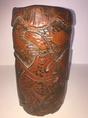 ANTIQUE FINE DEEP CARVED CHINESE BAMBOO BRUSH POT WITH LID FROG / TOAD signed