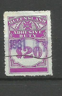 Q/58 QUEENSLAND DUTY STAMP $20 purple adhesive duty fine used